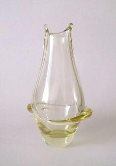 ZBS Zelezny Brod Miloslav Klinger -- yellow swirl glass vase -- Czech art glass