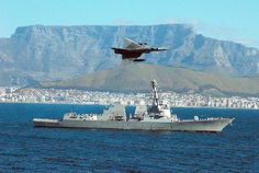 A South African Cheetah fighter jet flies over guided-missile destroyer USS Forrest Sherman (DDG as the ship departs after participating in the Southeast Africa Task Group first deployment to the region Iai Kfir, Military Jets, Military Aircraft, Fighter Aircraft, Fighter Jets, Jet Fly, South African Air Force, Falklands War, Defence Force