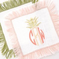 halo home fringe cocktail napkins | pineapple monogram | the loveliest | theloveliestcompany.com