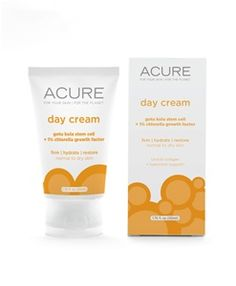 Acure Day Cream: Gotu Kola Stem Cells, shown to firm and help your skin fight environmental damage and free radicals, and 1% Chlorella Growth Factor, shown to support collagen and elastin fibers