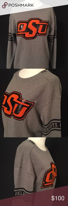 """Victoria's Secret PINK OSU Cowboys - New with tags - Size x-small - Collegiate collection bling sweatshirt - Grey - Front: Orange felt fabric and black sequin """"OSU"""" graphic logo featured on the chest - Sleeves: """"OKLAHOMA STATE COWBOYS"""" full cuff graphic in black print - Shoulders: """"PINK"""" logo in black stitch - Back: Black wreath """"PINK"""" logo graphic PINK Victoria's Secret Tops Sweatshirts & Hoodies"""