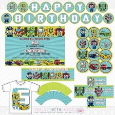 Transformers Rescue Bots Birthday Party Printables Package by SealsItWithAKiss, $26.00