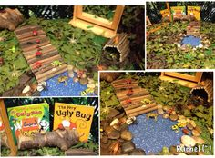 Minibeasts small world- link to hungry caterpillar on a cable reel Eyfs Activities, Nature Activities, Easter Activities, Creative Activities, Hungry Caterpillar Activities, Very Hungry Caterpillar, Minibeasts Eyfs, Easter Garden, Small World Play