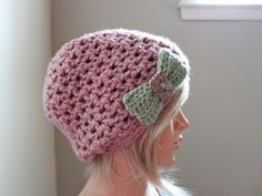 Shell Pink Slouchy Beanie with Exclusive Flower by Threadmill, $33.00