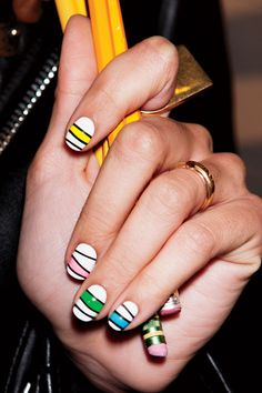 Master Fall's Mod Manis (Like Color Blocked Nails!) Using Your Favorite School Supplies  with a little help from Jin Soon Choi