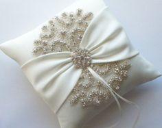 Wedding Ring Pillow Robin Egg Blue Ribbon Pillow by JLWeddings