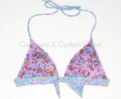 Victoria's Secret Beach Sexy Swim Push Up Bikini Top Purple Aqua Floral DR1 XS