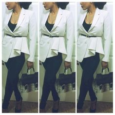 ✨SALE❗✨NWOT Theory Jester Ivory Blazer *This brand new blazer is absolutely stunning, fancy, and definitely gorgeous!  It is so uniquely designed.  It has a beautiful ruffle detail on one side of the blazer.  It has a two button front closure, with extra buttons attached.  It has two loops for a belt,  the belt pictured is not included (original belt is missing).  This blazer is everything, turn heads wherever you go!  Feel free to make an offer!*    Photo credit (fourth pic)…
