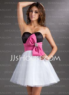 Homecoming Dresses - $117.99 - A-Line/Princess Sweetheart Short/Mini Satin Tulle Homecoming Dress With Sash Beading (022010495) http://jjshouse.com/A-Line-Princess-Sweetheart-Short-Mini-Satin-Tulle-Homecoming-Dress-With-Sash-Beading-022010495-g10495