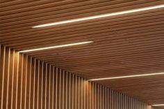 Interiorisme per una oficina de Caixa dArquitectes - Alejandro Garcia, Roger Mayol, Jonatan Domènech Timber Ceiling, Open Ceiling, Wooden Ceilings, Ceiling Lights, Timber Slats, Timber Cladding, Linear Lighting, Lighting Design, Ceiling Design