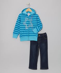 Take a look at this Blue Stars Zip-Up Hoodie & Jeans - Infant, Toddler & Girls by Coney Island Kids on #zulily today!