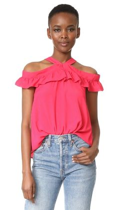 BOUTIQUE MOSCHINO Off Shoulder Ruffle Blouse. #boutiquemoschino #cloth #dress #top #shirt #sweater #skirt #beachwear #activewear