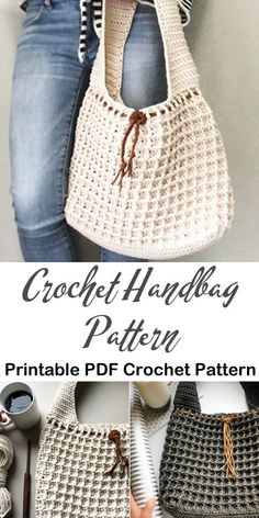 Bag Crochet Patterns – Make a Purse - A More Crafty Life Stitch Crochet, Bag Crochet, Crochet Market Bag, Crochet Handbags, Crochet Purses, Crochet Beach Bags, Crochet Crafts, How To Make Purses, Handbag Patterns