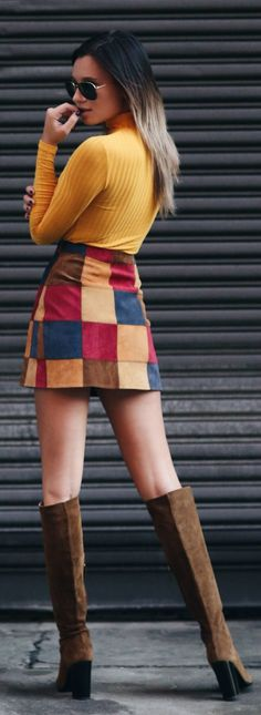Patchwork Suede Skirt Fall Inspo by We Wore What Skirt Outfits, Chic Outfits, Winter Outfits, Fashion Outfits, Fashion Wear, Skirt Fashion, Fall Fashion, Fashion Mode, School Fashion
