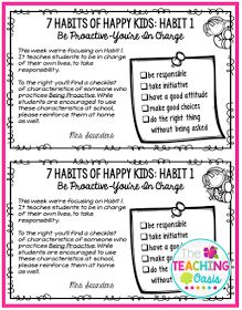 *The Teaching Oasis*: 7 Habits of Happy Kids Flyers
