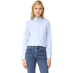 Victoria Victoria Beckham Smoked Cuff Shirt ($395) ❤ liked on Polyvore featuring tops, cuff shirts, cuffed shirts, shirt top, blue shirt and blue top