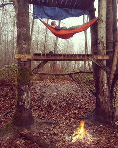Rainy Monday spent hammocking in the woods #eno #hammock #hammocklife  #fires by @dwilks23