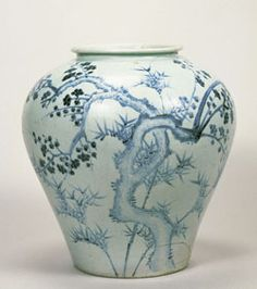Jar with a blue-and-white plum tree and bamboo design (first half of the 16th century) GIFT OF SUMITOMO GROUP