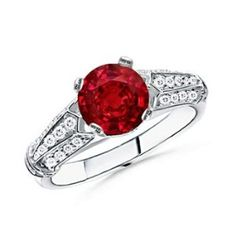 Round Ruby and Diamond Antique Ring in 14k White Gold  http://electmejewellery.com/jewelry/round-ruby-and-diamond-antique-ring-in-14k-white-gold-ca/