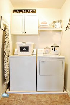 Floor pan and glass containers for laundry closet.