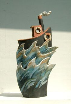 Ceramics by Terri Smart at Studiopottery.co.uk - Big Black Tug approx. 36cm high, 2007.
