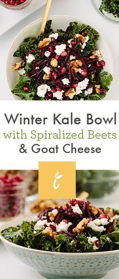 Winter Kale Bowl with Spiralized Beets and Goat Cheese