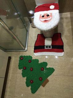 Jogo de banheiro em crochê com 3 peças, confeccionado em barbante de alta qualidade,