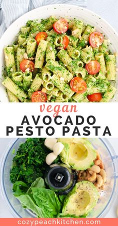 Vegan avocado pesto pasta is a quick and easy way to get in your greens. Made in less than 15 minutes, this flavorful recipe is packed with nutrients from avocado and spinach! #pesto #veganrecipes #pasta #veganpasta