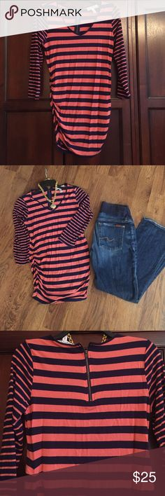 Jessica Simpson Maternity Top Jessica Simpson Maternity Top. Coral and Navy stripe with Gold Zipper in the back. Rouched on sides so it grows with your belly. Size Medium. No rips, tears or stains. Smoke free home. Jessica Simpson Tops