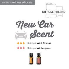 New Car Scent Essential Oil Diffuser Blend 3 drops Wild Orange 3 drops Wintergreen How many drops of essential oil to diffuse at a time?  I like to diffuse about 5 drops in my AromaLite diffuser.  You can do a little more according to personal preference,  but the recipes that use large amounts for the number of drops,  I would use as mix ahead blends.  Hope this helps!!!