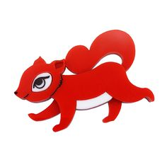 Peppy Chapette Squirrelling Away Fay brooch in red. Made in Melbourne by Louisa Camille Squirrels, New Pins, Old And New, Anonymous, Tigger, Brooch Pin, Brooches, Unicorn, Disney Characters