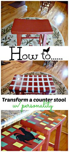 How to paint a stencil a counter stool and create a one of a kind in your kitchen...whatever your style make it your own. Easy!