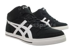 Asics Aaron MT CV Black Canvas Mid Mens Womens Casual Shoes H009N 9001 | eBay