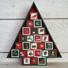 Christmas Tree Wooden Advent Calendar Red Green White with 24 Box Drawers | eBay