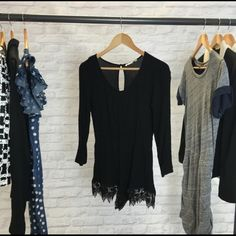 """Black Crochet Trim Romper Re-posh! It was too small for me. I'm 5'8"""" so it was way too short on me but it's so cute someone deserves it! Long sleeve romper with crochet trim on the leg openings. Elastic band on the waist and key hole opening on the back with a single closure button. Dresses"""
