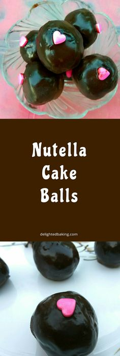 Nutella Cake Balls. Easy dessert recipe. It is made using nutella, cake, dark chocolate and butter.
