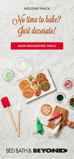 Need a last minute holiday hack for cookies? Decorating cookies for the holidays is easy and adds a personal touch! Everything you need to decorate holiday treats is available at Bed Bath & Beyond. Baking Supplies, Baking Tools, Baking Products, Cheesecake Recipes, Cookie Recipes, Dessert Recipes, Christmas Dishes, Christmas Cookies, Cake Decorating Tools