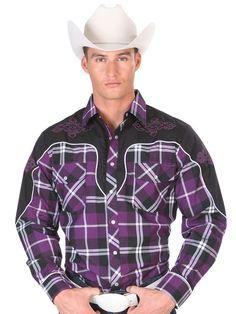 33606 Camisa Vaquera Caballero El General, 65% Polyester 35%Cotton - Purple