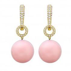 Pink Opal and Diamond Drop Earrings