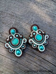Glamor Turquoise Brown Soutache Set-Turquoise BrownSoutache Bracelet-Turquoise Brown Dangle Earrings Custom Jewelry, Diy Jewelry, Beaded Jewelry, Jewelery, Soutache Necklace, Quilling Jewelry, Fabric Jewelry, Bead Caps, Diy Earrings