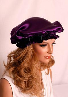 SALE Silk Sleep Bonnet Plum Charmeuse Fully by AdorabellaBaby, $42.99
