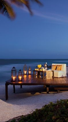 Treat your significant other to a romantic dinner on the beach.