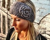 GREY Knitted Headband -  Ear Warmer In Gray with Knitted Flower Slip On Ear Warmer or Hair Band. $18.50, via Etsy.