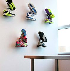 Where it all began, the Shrine Sneaker Rack is the first wall mounted fixture for displaying limited edition sneakers. Designed for collectors and boutiques, it Sneaker Rack, Sneaker Storage, Shoe Storage, Shoe Shelves, Shoe Room, Shoe Wall, Boutique Interior, Shoe Store Design, Creative Shoes