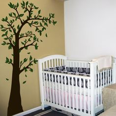 Arching & Waving Tree with Leaves Wall Decal Sticker Graphic