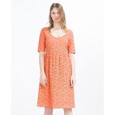 Nwt Zara Coral Peach Floral Eyelet Lace Midi Dress