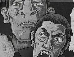 Horror School, ilustración sobre personajes clasicos del cine de terror http://be.net/gallery/44818687/Horror-School