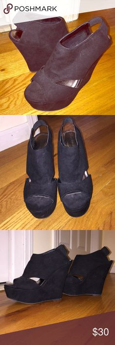 Black 5 inch wedges Black wedges worn once. Madden Girl Shoes Wedges
