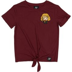 Decked out in Gryffindor colours, this tee features a tie up front with an adorable Hermione embroidered detail. Australia Living, Hermione, Jacket Dress, Chloe, Girl Outfits, Burgundy, Short Sleeves, Tie, Birthday