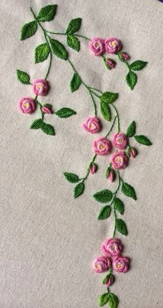 Resultado de imagem para bullion stitch embroidery from roses to wildflowerspink and green embroidered flowers -- Gallery.This Pin was discovered by Нат Hand Embroidery Flowers, Flower Embroidery Designs, Simple Embroidery, Hand Embroidery Stitches, Silk Ribbon Embroidery, Crewel Embroidery, Embroidery Works, Embroidery Techniques, Machine Embroidery